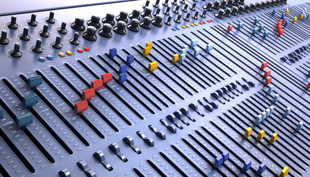 pult: Fantasy Professional mixing console in studio. 3d illustration