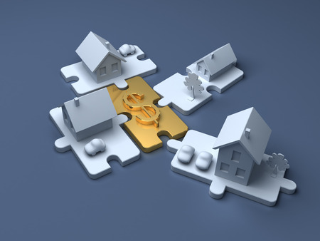Business puzzle. Cost of Real estate and money.   Economic illustration Stock Photo