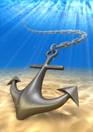ship anchor: underwater anchor and volume light. Travel 3d illustration
