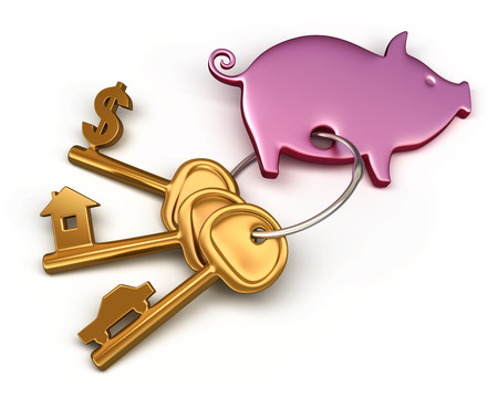 keychain: Piggy bank - keychain and different keys. Key to the house, car and money. Conceptual finance illustration Stock Photo