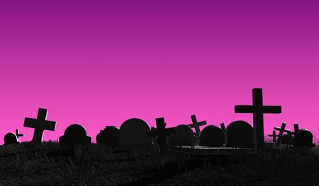 cemetery: Fantasy Cemetery silhouette. Halloween horror 3d illustration