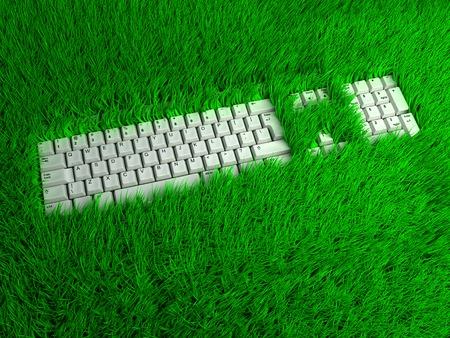 ergonomic: Ergonomic keyboard for comfortable freelance work at park. Conceptual 3d illustration
