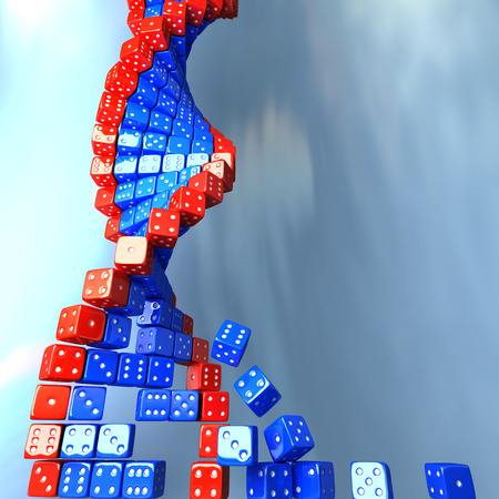 genomes: DNA made of game dice. Conceptual science 3d illustration