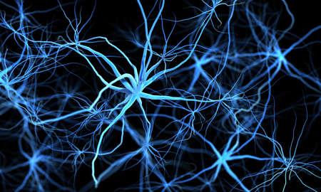 Fantasía científico 3d ilustración médica. Sistema nervioso con nudos o células cancerosas ...