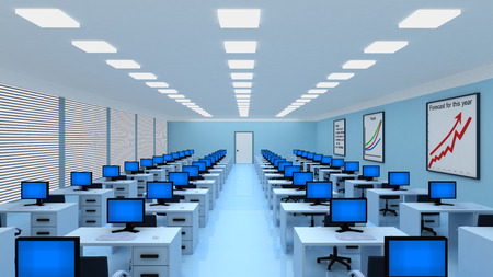 comfort classroom: empty big modern office with a lot of workplaces and computers. 3d illustration Stock Photo