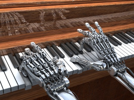 piano closeup: Robot plays the piano.  High Technology 3d illustration