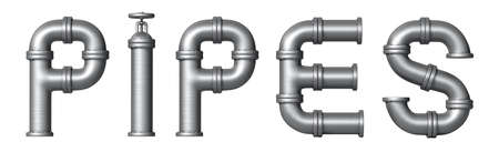 Word Pipes made of Metallic pipes. Industrial letters.  photo