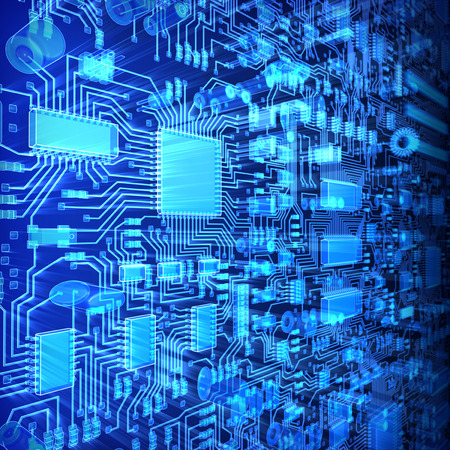 Fantasy circuit board or mainboard with  microcircuits and processors. Technology 3d illustration
