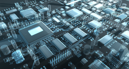 processors: Fantasy circuit board or mainboard with  microcircuits and processors. Technology 3d illustration