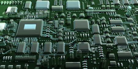 mainboard: Fantasy circuit board or mainboard with  microcircuits and processors. Technology 3d illustration