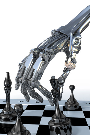 intelligence: Robot or cyborg plays a chess. High technology 3d illustration Stock Photo