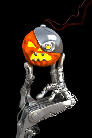 terminator: Robotic Halloween pumpkin. Technology 3d illustration