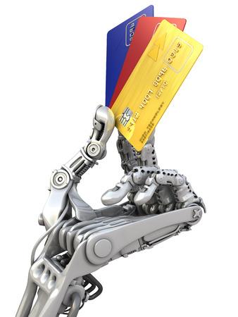 mano robotica: Robot mantiene diferentes tarjetas de crédito. Alta tecnología en la industria bancaria. 3d ilustración