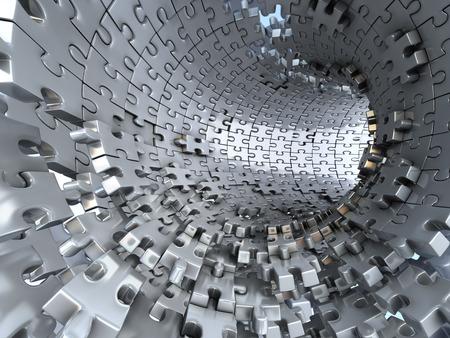 Túnel hecho de rompecabezas metálicos. Conceptual ilustración 3d,