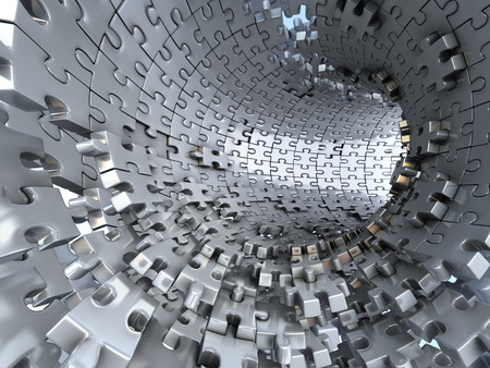 overcoming: Tunnel made of metallic puzzles.  Conceptual 3d illustration,