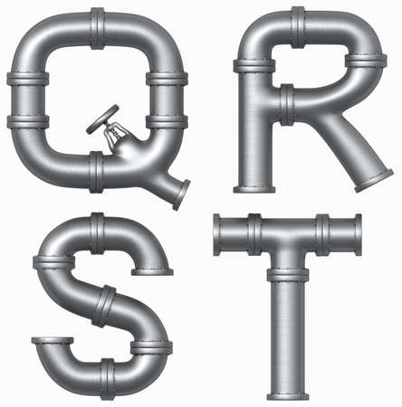 pipelines: Metal stainless pipe alphabet. Industrial letters. Added clipping path