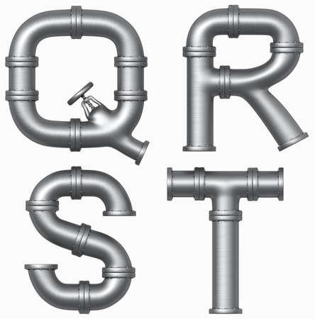 caños de agua: Metales alfabeto acero tubería. Cartas industriales. Trazado de recorte Añadido Foto de archivo