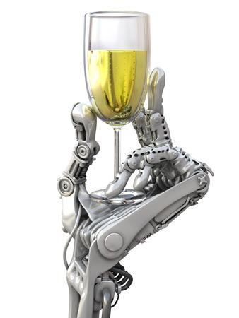 mano robotica: Robot con un vaso de vino. Tecnología de vacaciones 3d ilustración Foto de archivo