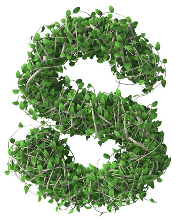 s alphabet: Green alphabet made of trees and leafs. Seasonal summer letter S