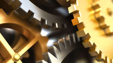 antique factory: Clockwork or a machine inside. Closeup gears and cogs. Industrial 3d illustration.