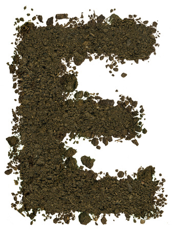 e alphabet: Alphabet made of brown soil on white background. High sharp and detail. Letter E