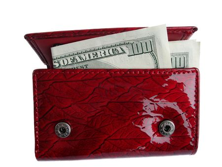 Red wallet with one hundred dollar bill sticking out and isolated on a white background photo