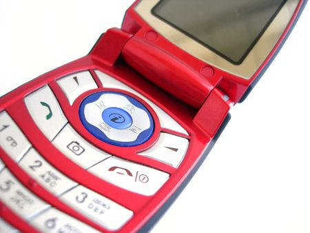 fem: Red mobile phone over a white background