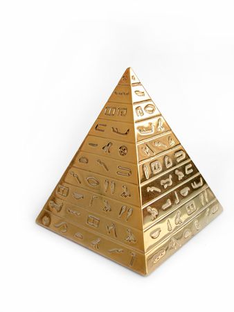 Golden pyramid with hieroglyphs on a white background photo