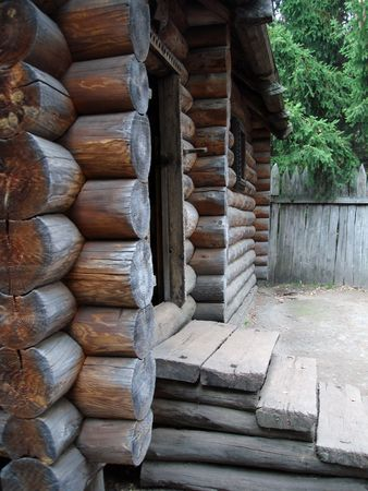 wooden rural  log-house in a park Stock Photo - 606674