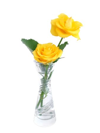 Bouquet of yellow roses in a vase over white Stock Photo - 653741