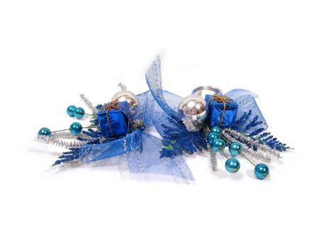blue Christmas decoration, box with handbell and balls photo