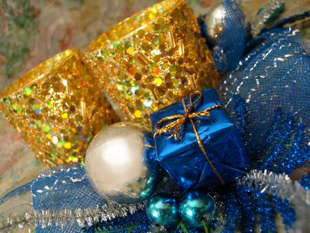 blue gift box with beautiful golden candlestick Stock Photo - 763803