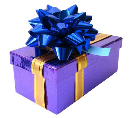 blue ribbon tied violet box over white background