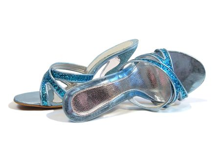 beautiful blue woman shoes isolated on white background photo