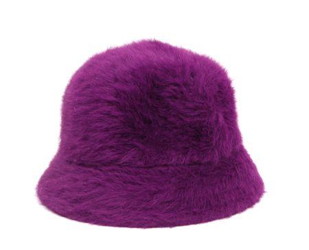 bonnet up: violet ladies hat over white background