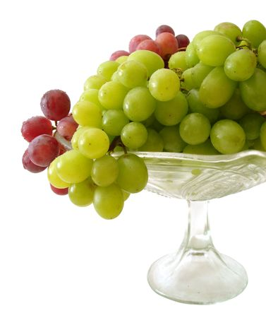 green and red grapes on tray isolated photo