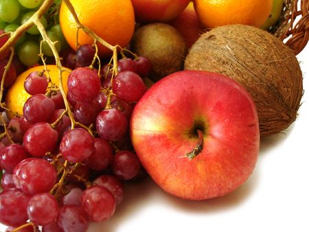 set of fresh fruits (red apple, coco, grapes and orange) photo
