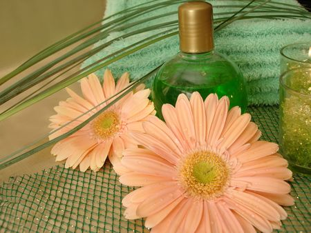 Spa essentials (bottle of shampoo and towel with flowers) Stock Photo - 784446