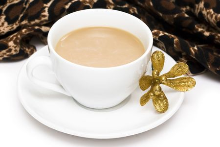 white cup of coffee with golden flower Stock Photo - 2966595