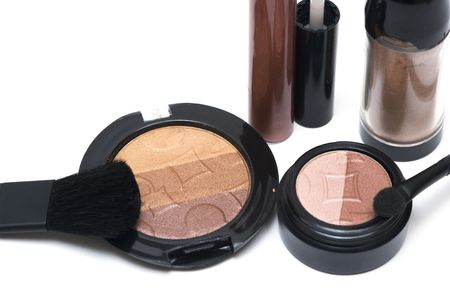 Bronze set for make-up, eyeshadows, rouge, blusher and gloss  photo
