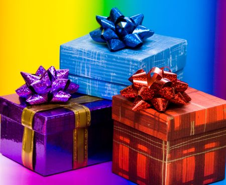 blue, red and violet gift boxes Stock Photo - 3083981