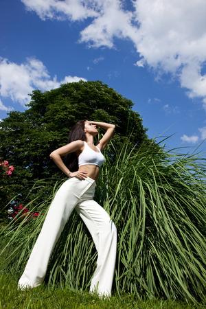 Beautiful girl on the nature photo