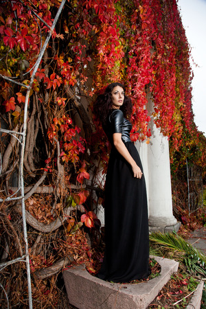 woman near the wall of autumn leaves  photo