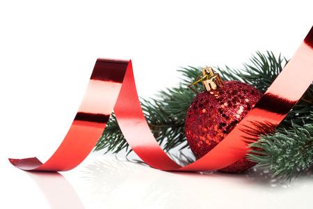 natal: Christmas decoration balls with fir-tree