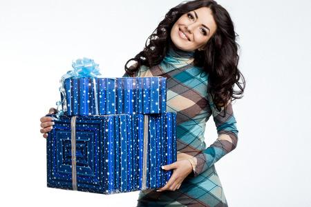 beautiful fashionable woman with gift box photo