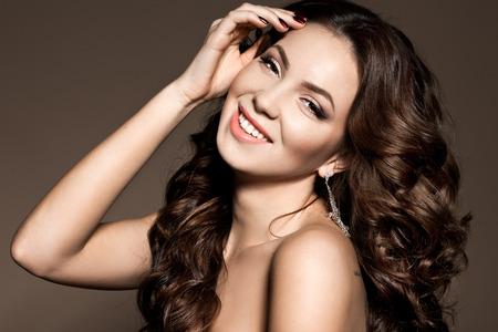 beautiful woman with long hair photo