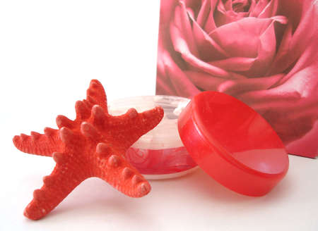 seastar: Container of cosmetic moisturizing cream, seastar and bag over white