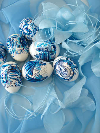 beautiful easter eggs on blue background  Stock Photo