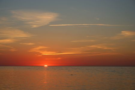 Nice sunset at the Baltic Sea Stock Photo