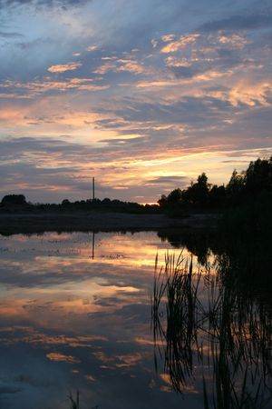 Sky and clouds reflecting on water photo